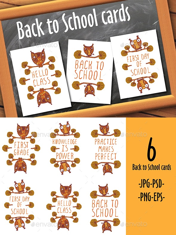 Terrific Back To School Cards By Annavolkova Graphicriver Funny Birthday Cards Online Fluifree Goldxyz