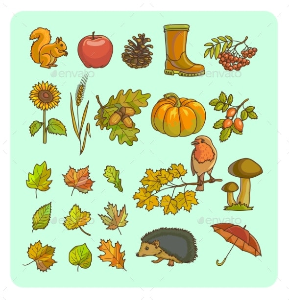 Autumn Icon And Objects Set For Design. - Seasons Nature