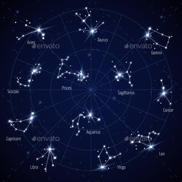 Sky Star Map with Constellations Stars
