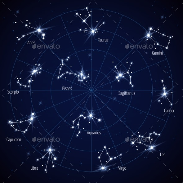 Sky Star Map with Constellations Stars - Web Elements Vectors