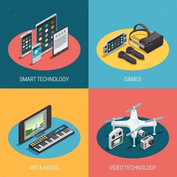 Gadgets Isometric Design - Media Technology