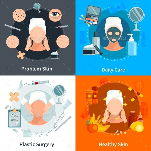 Skin Care Flat 2X2 Design Concept