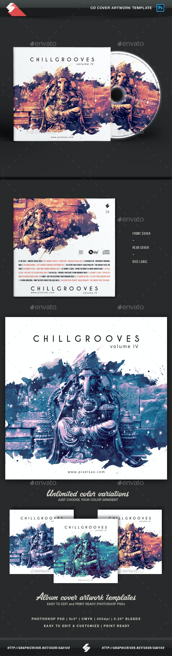 Chill Grooves vol.4 - Chillout CD Cover Artwork Template - CD & DVD Artwork Print Templates