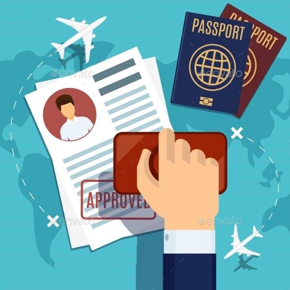 Visa Stamping Stamp on Passport Application