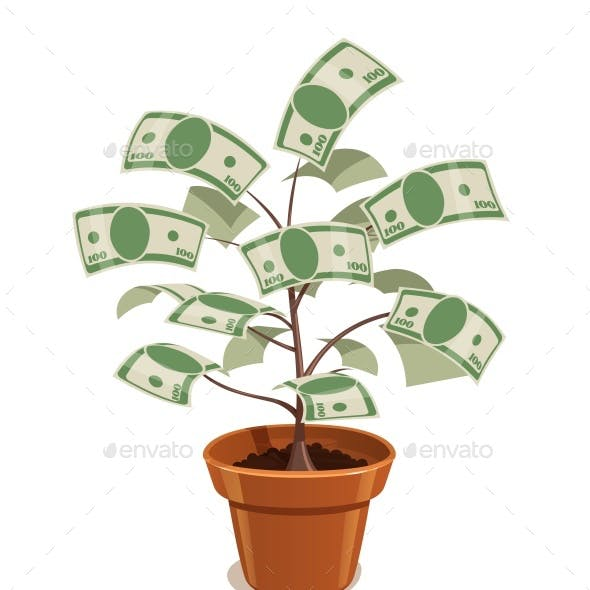Money Tree with Dollars in Pot