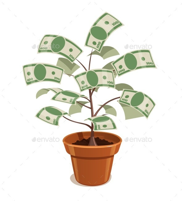 Money Tree with Dollars in Pot by Aleksangel | GraphicRiver