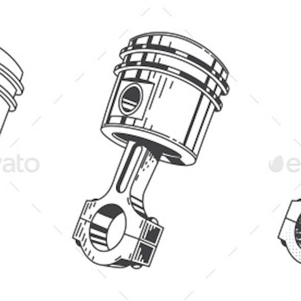 Metallic Gear Piston Car Engine Part Set