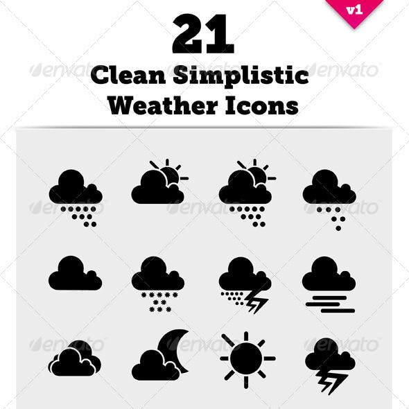 21 Clean Simplistic Vector Weather Icons