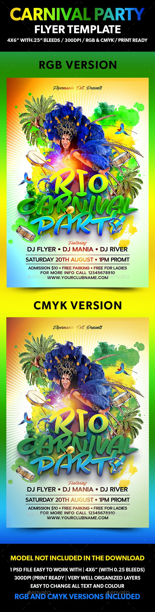 Carnival Party Flyer Template - Flyers Print Templates