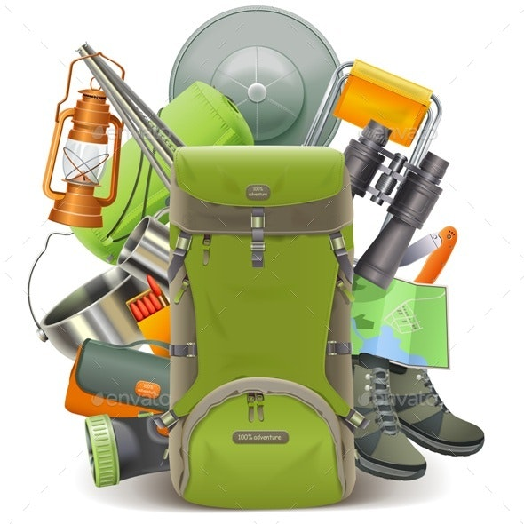 Vector Camping Concept with Haversack - Sports/Activity Conceptual