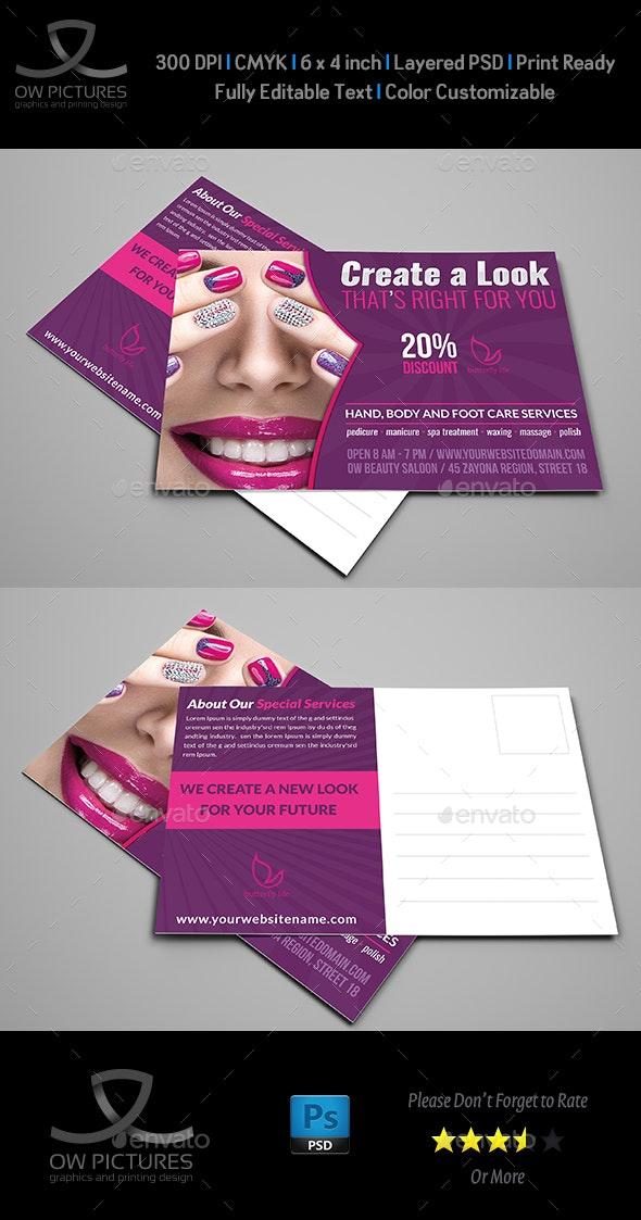 Nail Salon Postcard Template - Cards & Invites Print Templates