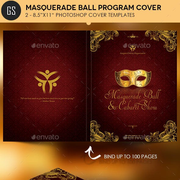 Masquerade Ball Program Cover Template
