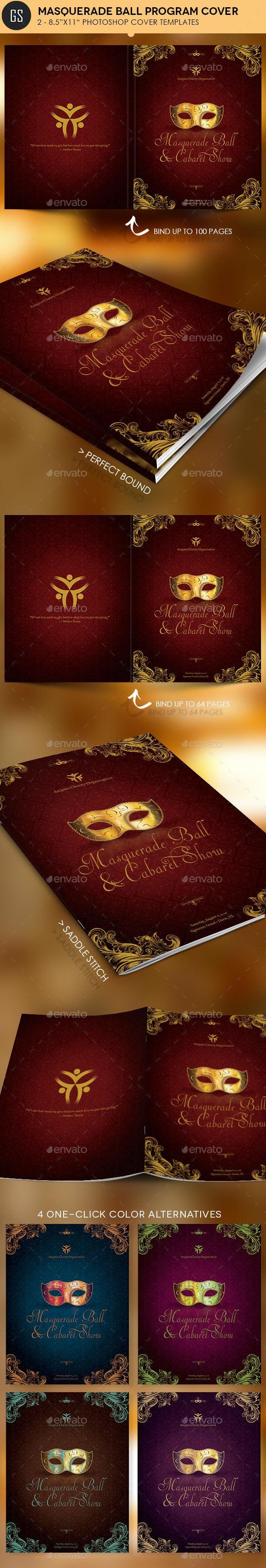 Masquerade Ball Program Cover Template - Magazines Print Templates