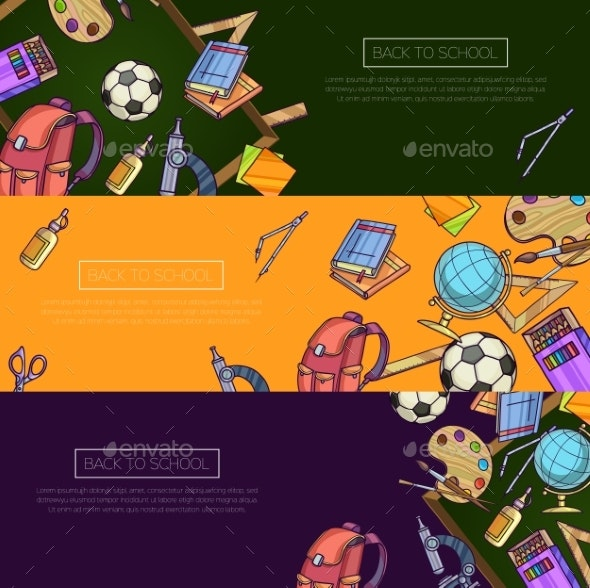 Back To School Set Of Banners. - Web Technology