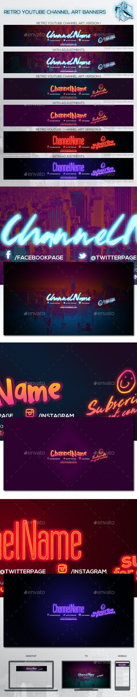 3 Retro Youtube Channel Art Banners - YouTube Social Media