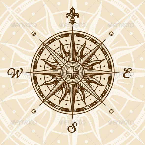 Vintage Compass Rose - Travel Conceptual