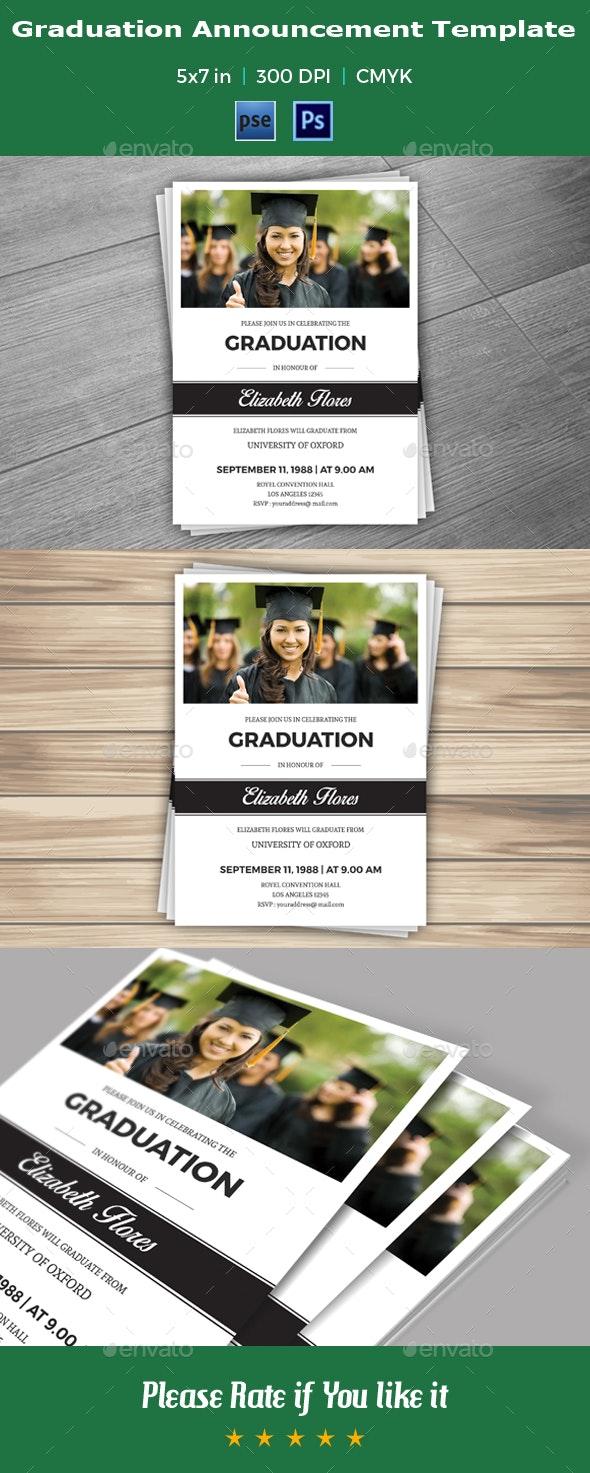 Graduation Announcement & Invitation Template - V03 - Invitations Cards & Invites