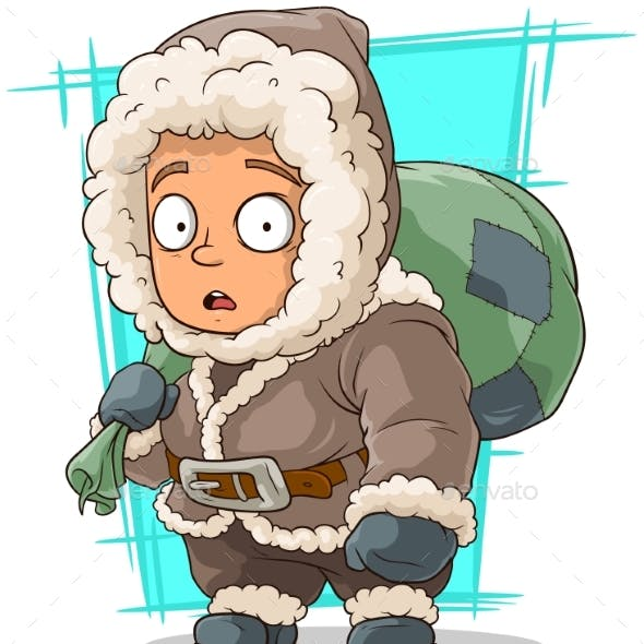 Cartoon Little Eskimo Boy