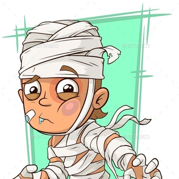 Cartoon Boy With Bandage
