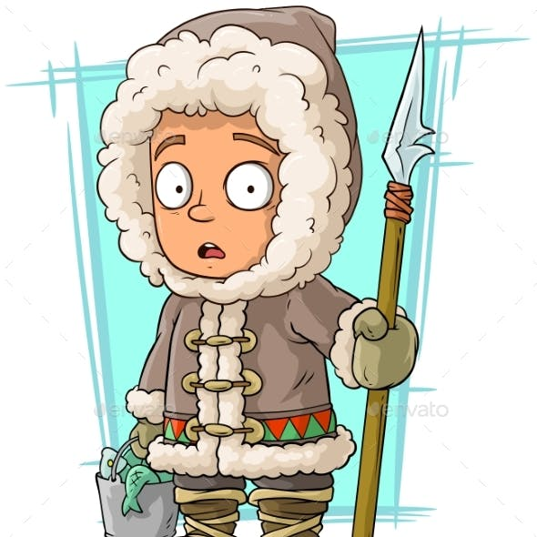 Cartoon Eskimo Boy With Spear And Fish