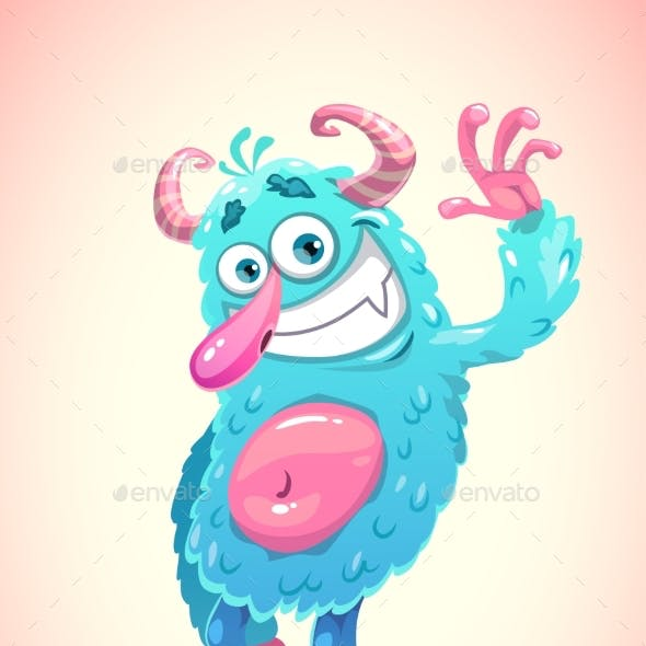 Funny Cartoon Blue Hairy Monster
