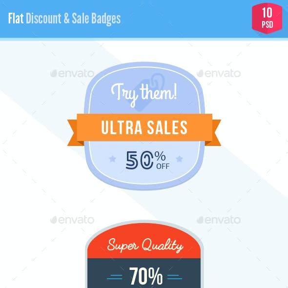 Shiny Flat Discount & Sale Badges