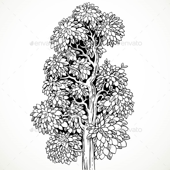 Graphically Drawing Black Ink Tree  Isolated - Backgrounds Decorative