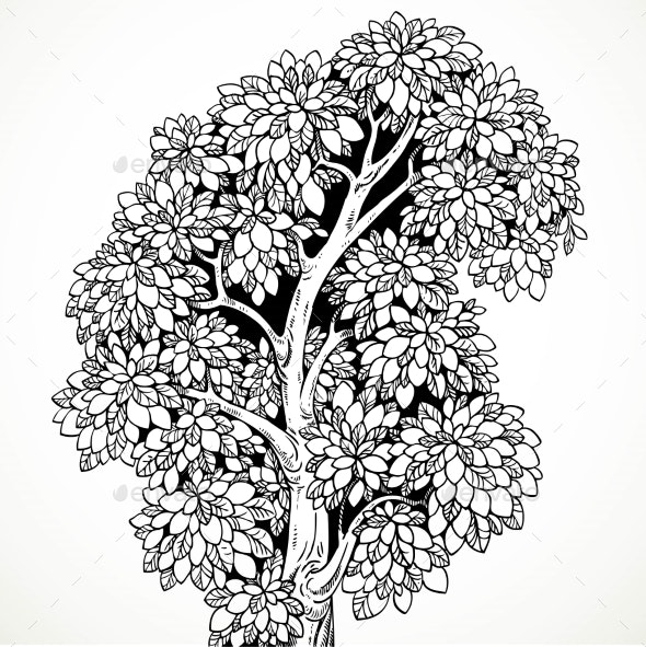Graphically Drawing Black Ink Tree With Bushy - Backgrounds Decorative