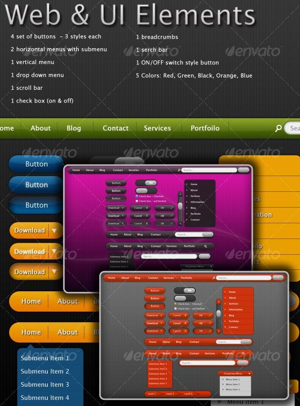 Web Elements 5 Colors Set - Web Elements