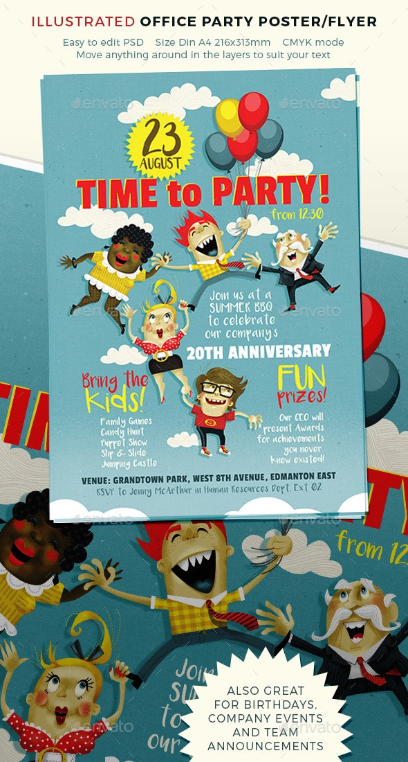 Party Poster for Team or Office Event - Events Flyers