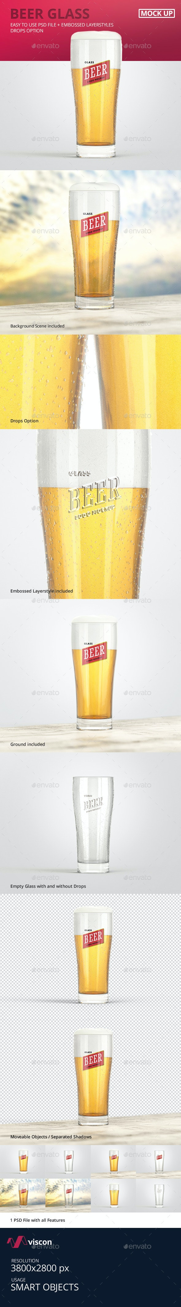Beer Glass Logo Mock-Up - Food and Drink Packaging