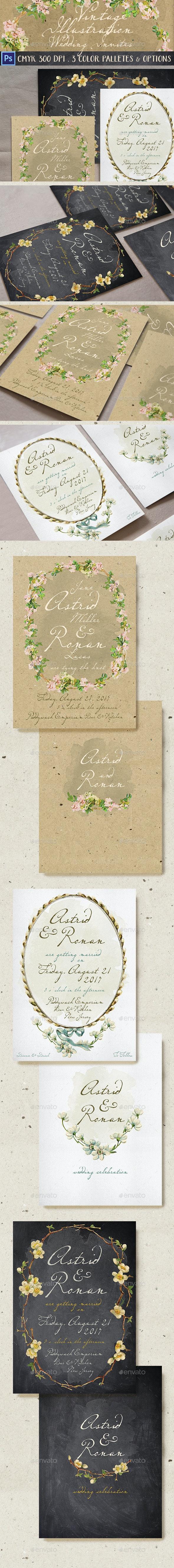 Vintage Illustration Wedding Invitation - Weddings Cards & Invites