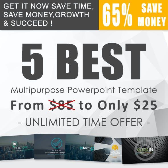 5 in 1 Powerpoint Presentation Template Bundle