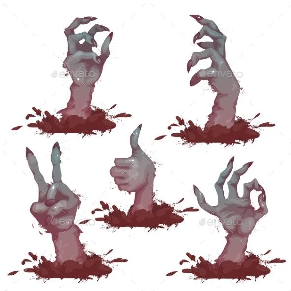 Set Of Zombie Hands For Halloween Party. Vector - Halloween Seasons/Holidays