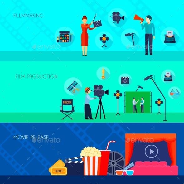 Filmmaking Movie Release 3 Flat Banners