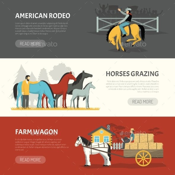 Popular Horses Breeds Horizontal Banners Set