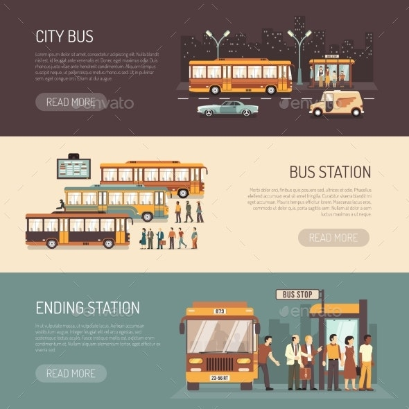 City Bus Flat Horizontal Banners Set  - Travel Conceptual