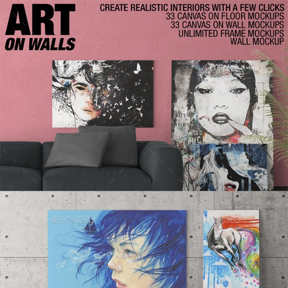 Art On Walls - Canvas Mockups - Frame Mockups - Wall Mockups Vol 3
