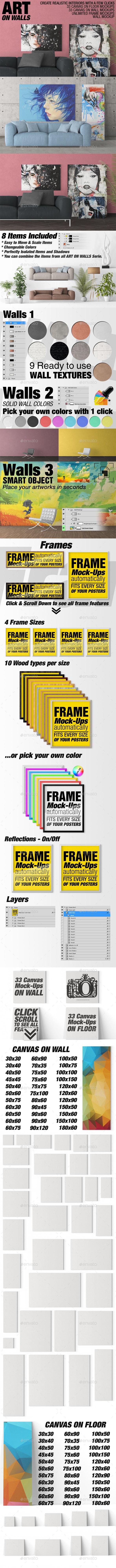 Art On Walls - Canvas Mockups - Frame Mockups - Wall Mockups Vol 3 - Miscellaneous Product Mock-Ups