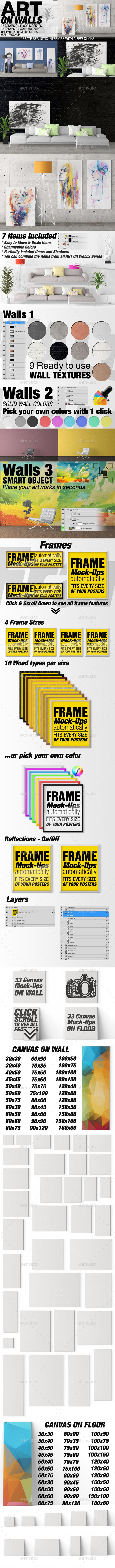 Art On Walls - Canvas Mockups - Frame Mockups - Wall Mockups Vol 4 - Miscellaneous Product Mock-Ups