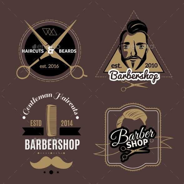 Barbershop Emblems Set
