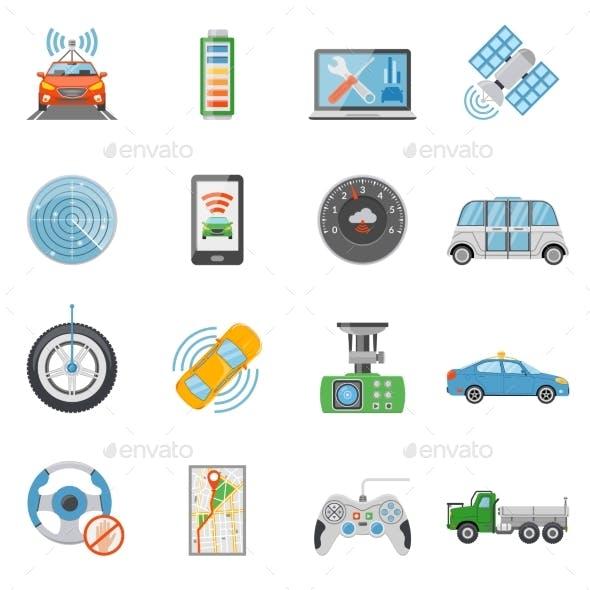 Driverless Car Autonomous Vehicle Icons Set