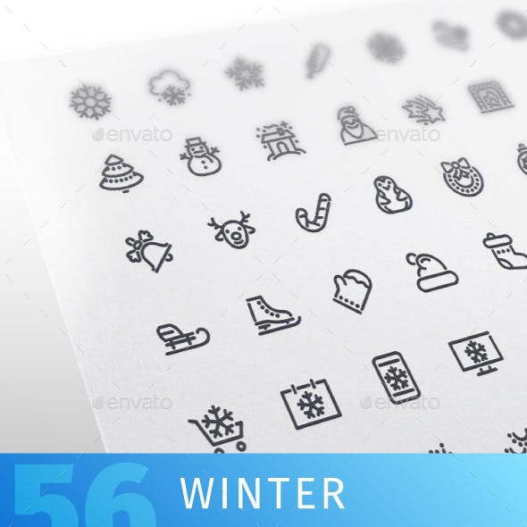 Winter Line Icons Set