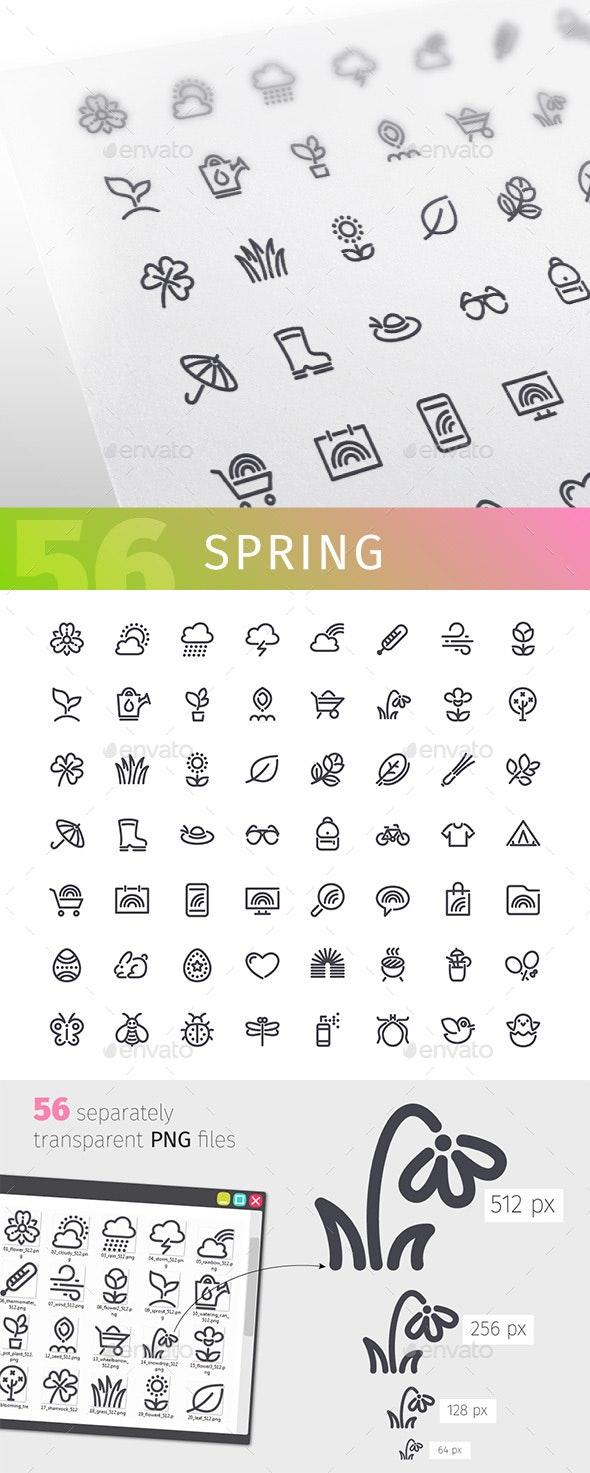 Spring Line Icons Set - Seasonal Icons