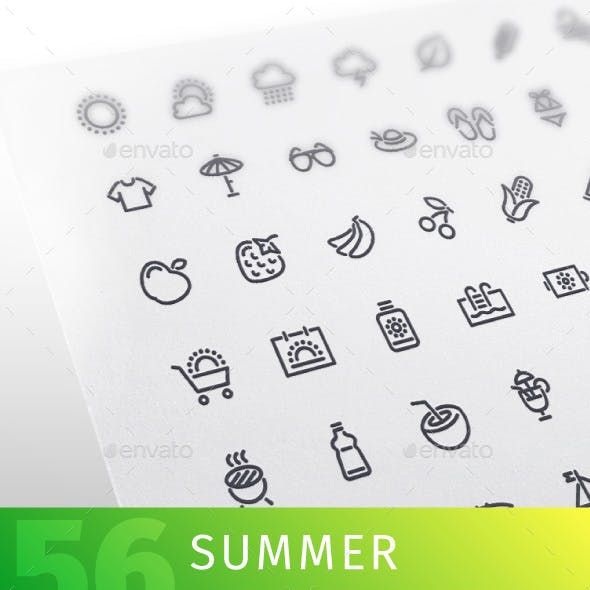 Summer Line Icons Set