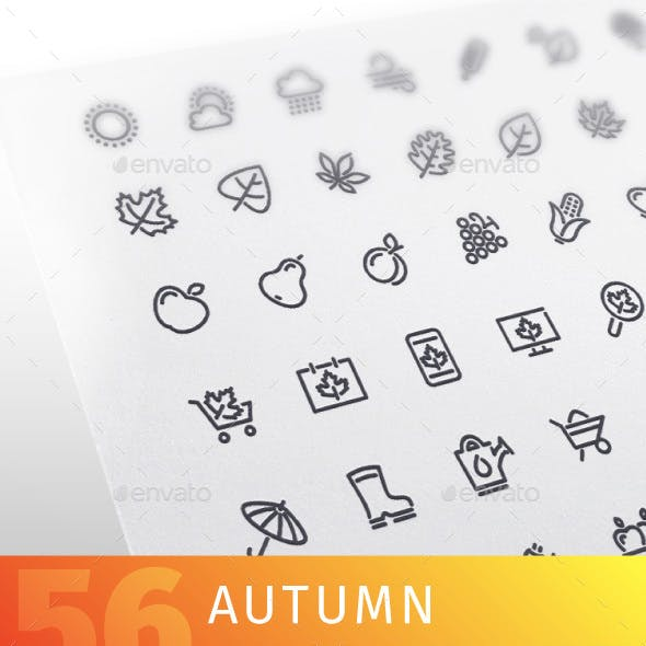 Autumn Line Icons Set