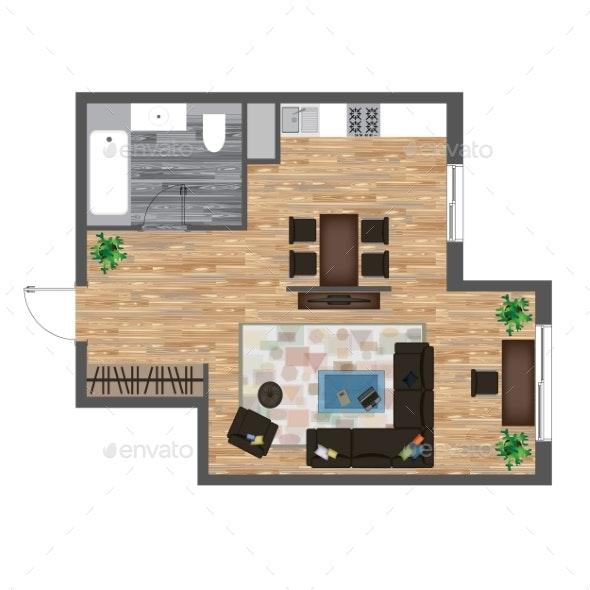 Color Floor Plan. Studio Apartment