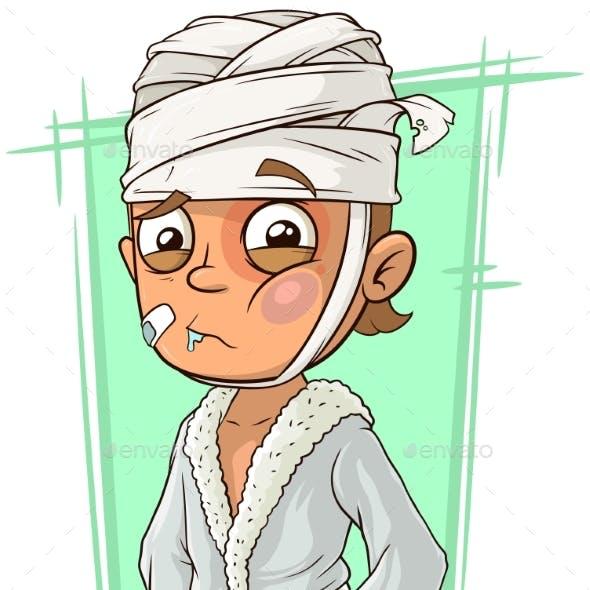 Cartoon Sick Man with Bandage in Bathrobe