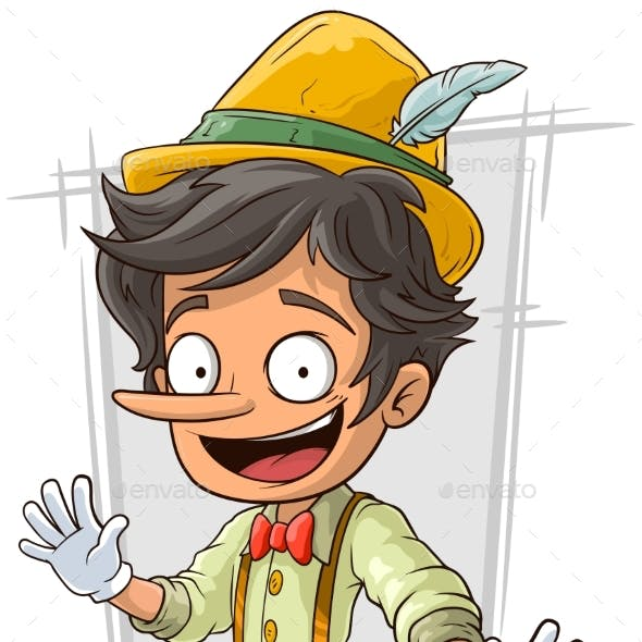 Cartoon Young Pinocchio with Big Boots and Hat