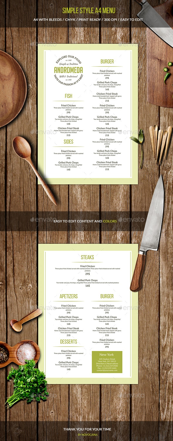 Simple Style A4 Menu - Food Menus Print Templates